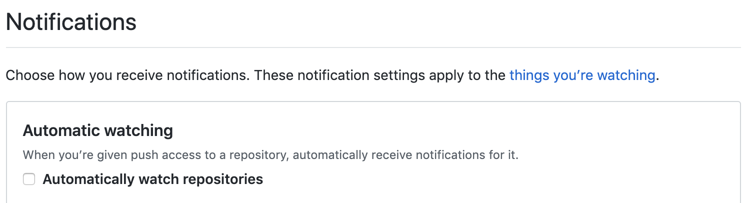 GitHub notification preferences